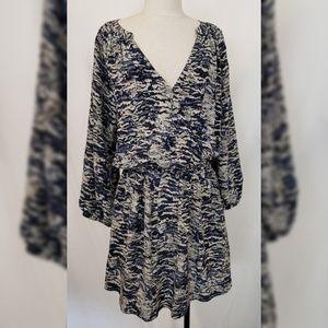 Joie Molly Blue Abstract Dress Blue Grey Silk XL
